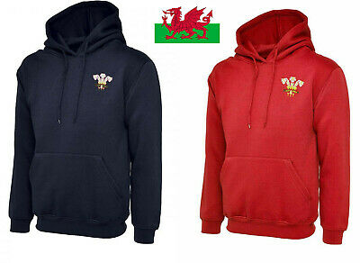 Wales Rugby Retro Style Hooded Sweat Shirt