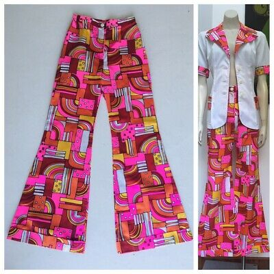 70's Vintage psychedelic FLARED pants and matching top S