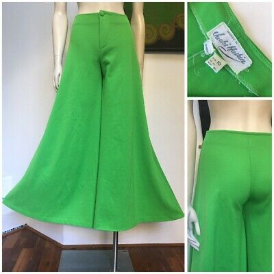 70's Vintage bright green flared PALAZZO pants S