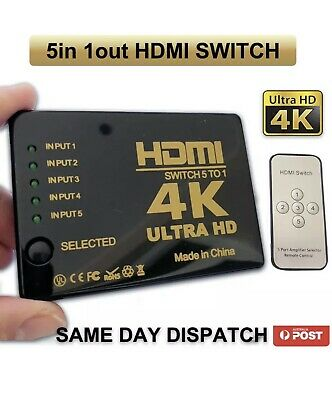 1080P Full HD 5 Port HDMI Splitter Switch Hub HDTV Video with IR Remote Control