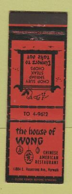 Matchbook Cover - House of Wong Chinese Restaurant Norwalk CA