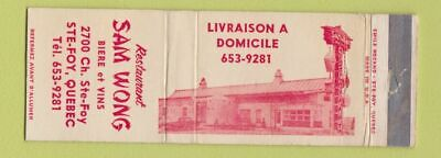 Matchbook Cover - Sam Wong Restaurant Chinese Ste Foy QC WEAR