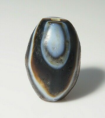 Original Old Meso Gorgeous Stunning white Layered Blue eye Banded Agate  Bead