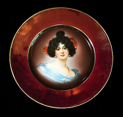 Late 1800s Royal Vienna Style Hutschenreuther Cabinet Portrait Plate No. 7273