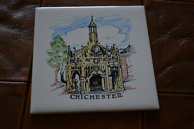 CHICHESTER CERAMIC TILE COASTER small, made in England, Chichester Market Cross