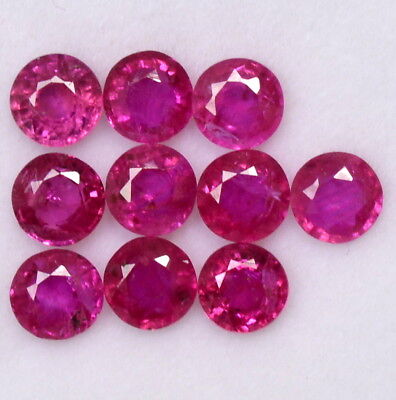 Natural Ruby Round Cut 4 mm Lot 05 Pcs 1.44 Cts Calibrated Loose Gemstones