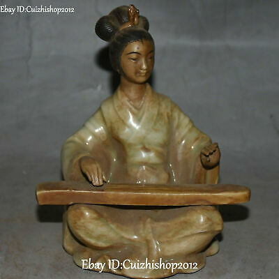 13cm old china wucai Porcelain Ancient Belle Beauty Woman Play GuZheng statue