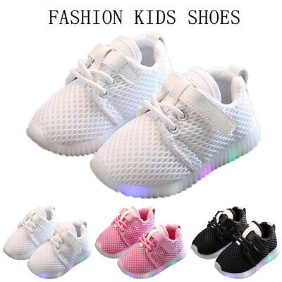 Kids Baby Boys Girls Mesh Breathable Sports Trainers Shoes LED Running Sneakers