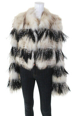 Dennis Basso Womens Hook Front V Neck Fox Fur Feather Coat White Black Small