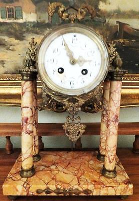 Museum Collector 4 Columns Marble Fireplace Clock Portal Pendule Antique Baroque