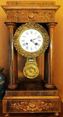 Museum Collector 4 Columns Inlaid Fireplace Clock Portal Pendule Antique Baroque