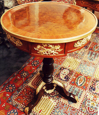 Marquetry Inlaid Table Side Table Bronze Gold Appliques Furniture Old Antique 18