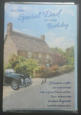 """Greetings Card-Birthday - """"To A Very Special Dad On Your Birthday"""" - Car/Cottage"""