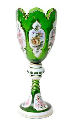 Antique Bohemian Green & White Overlayed Glass Hand Painted Vase