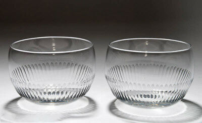 Pair Victorian Antique Cut Lead Glass Finger Rinser Bowls c.1850