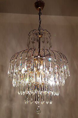 Antique Vintage Brass & Crystals Waterfall LARGE Chandelier Lighting Lamp 1950's