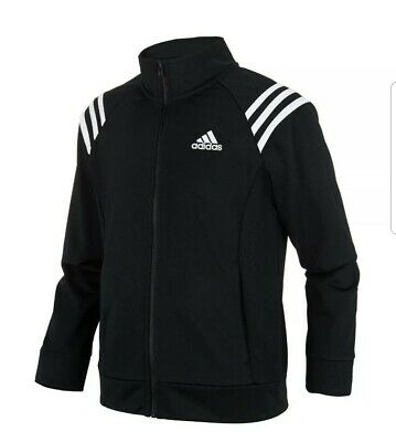 "Brand New Girls Adidas Black Mock Neck Colorblocked Track Jacket size 28"" 7-8 yr"