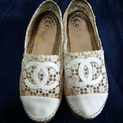 Authentic CHANEL Vintage Espadrilles Flat Shoes 38 Ivory White Polka Dot Women's