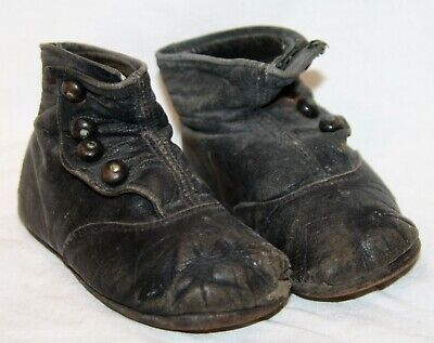 Antique leather button shoes boots baby child toddler black