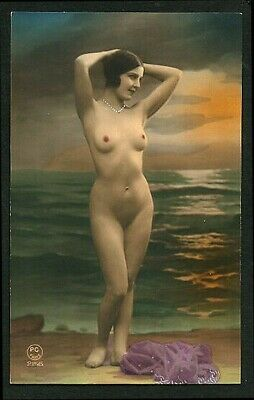 French 1920s Hand Tinted NUDE Studio BEACH Set Art Deco STYLE ~ VASTA Archives