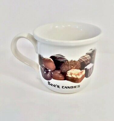 """See/'s Sees Candies Coffee Mug Cup Chocolate Design 4/"""" Tall Vtg"""