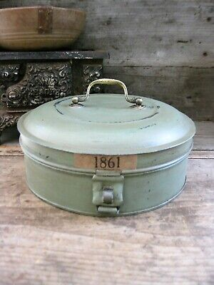 Early Antique Pantry Tin 1861 Worn Sage Green Paint