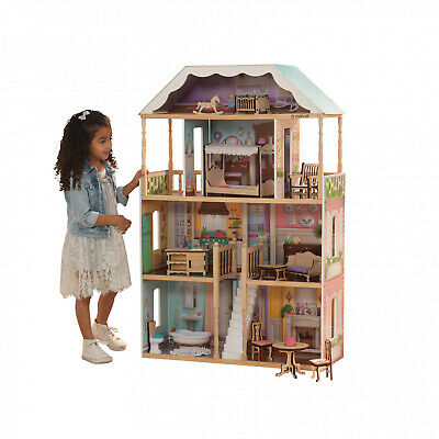 KidKraft Charlotte Dollhouse with EZ Kraft Assembly with 14 accessories included