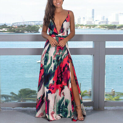 Womens Boho Floral Long Deep V Split Dress Party Beach Summer Backless Sundress