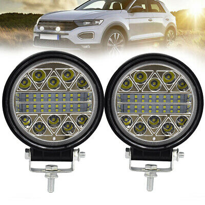 1 Pair 13600LM Round LED Work Lights Spot Flood Beam Driving Lamp Replacement