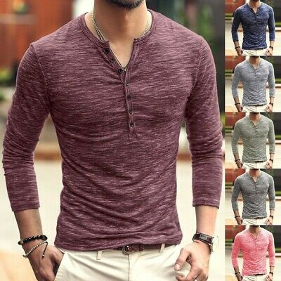 UK Autumn Men Slim Fit V Neck Long Sleeve Muscle Tee T-shirt Casual Tops Blouse