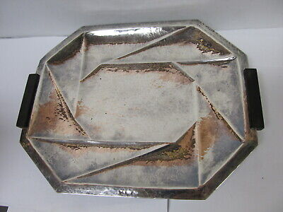 "JxA (or R) AUSTRIA 800 SILVER HAND HAMMERED CHOICE SERVE TRAY 9 1/4"" W XLNT COND"