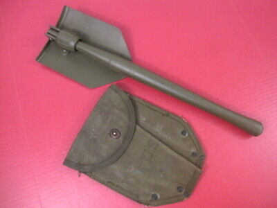WWII US Army M1943 Entrenching Tool Shovel & Canvas Cover Carrier - Wood 1945 #2