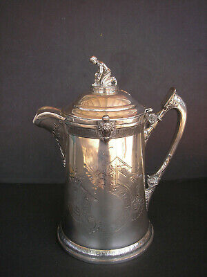 Antique 1800's Reed & Barton Silver Plate Ice Water Pitcher w/ Ice Skater Finial