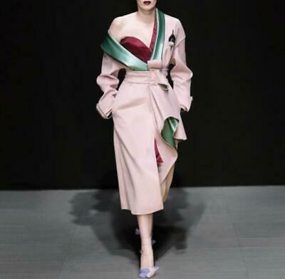 Occident Womens Fashion Pink Long Slim Trench Coat Runway Evening Party Overcoat