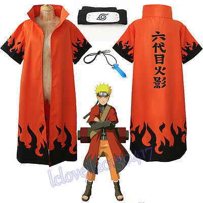 NEW Cosplay Anime Naruto Uzumaki 6th Hokage Halloween Overcoat