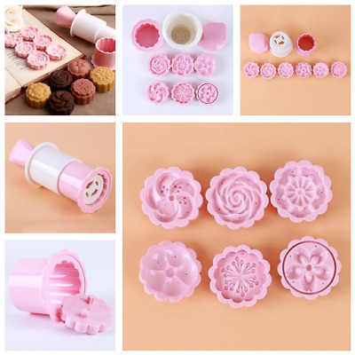Round Moon Cake Mould 3d 6 Styles Stamps Set Baking Decorating Tool Accessories