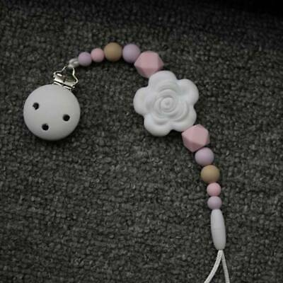Baby Infant Flower Pacifier Dummy Clip Teething Soother Holder Chain Strap BS