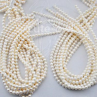 "New 5-6 mm White Natural Real Freshwater Pearl loose Beads strands 15"" AAA"