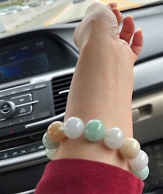 14MM Certified Grade A - SHINNY Green Yellow White 三彩 Jadeite Beads Bracelet