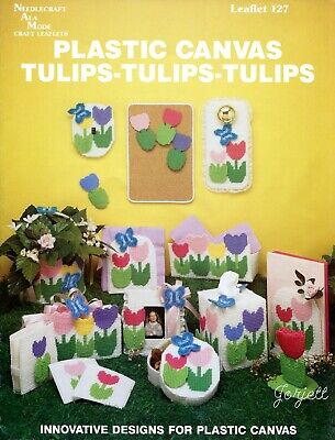 Easter Tulips /& Bunnies ~ Runner Tissue /&More plastic canvas pattern booklet NEW