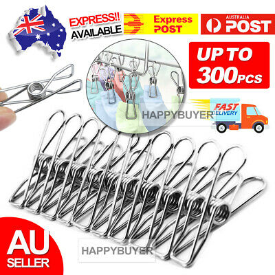 60-240X Stainless Steel Clothes Pegs Hanging Clips Pins Laundry Windproof Clamp