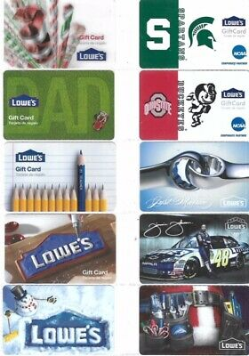 50 Different Gift Cards   T10-3   Lowe's