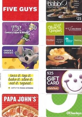 10 Different Food-Related Gift Cards   T10-12