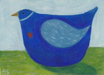 Original Blue Bird with Heart ACEO Painting, Naive Folk Art Illustration
