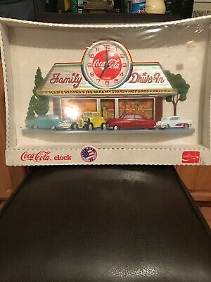 Coca Cola Family Diner Drive-In Clock Burwood 3D New Old Stock USA Sealed Vtg