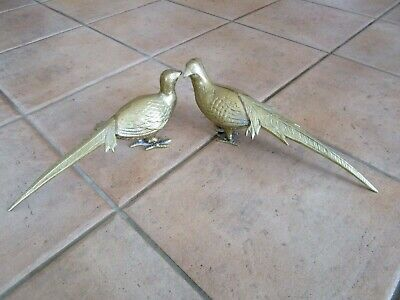 Vintage Pair Of Brass PHEASANTS - LARGE DECORATIVE 1960/70's RETRO DECOR