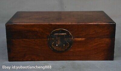 "12"" Old Chinese Folk Huanghuali wood Hand carved Storage jewelry Box Boxes Chest"
