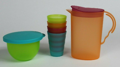 Tupperware Kids Mini Impressions Beverag Set Pitcher Bowl Tumblers Pastel New