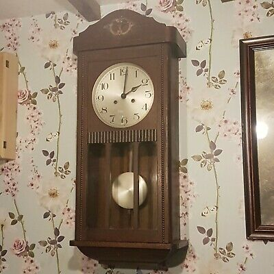 Antique 1930's Large Oak Wall Clock with Bevelled Glass Door and Brass Pendulum