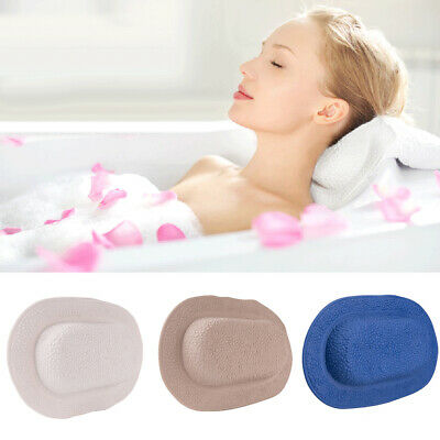 Solid Color Neck Spa Bathtub Support TPE Pillow Cushion Comfort with Suction Cup